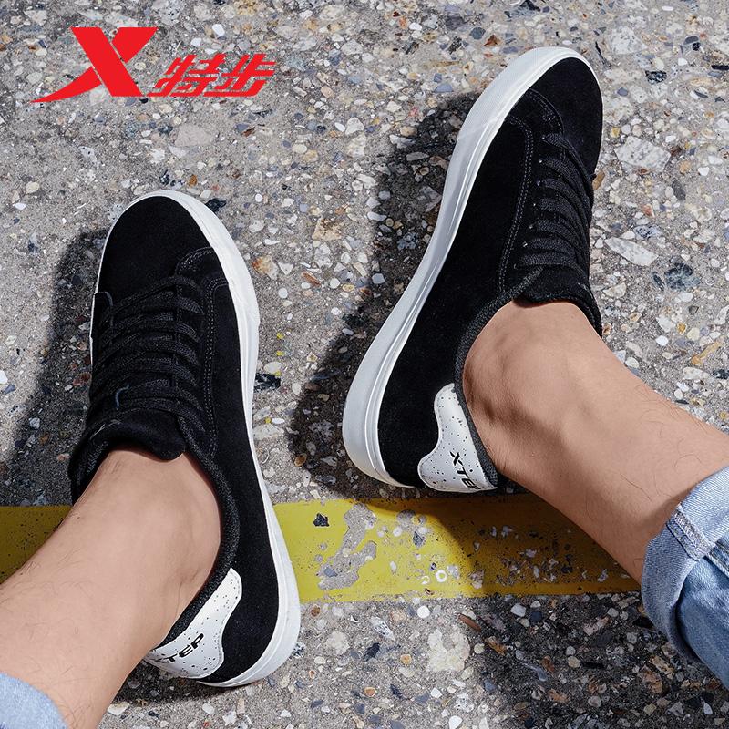 特步男鞋板鞋2018春夏新款反绒皮帮面休闲鞋子硫化鞋底运动鞋子