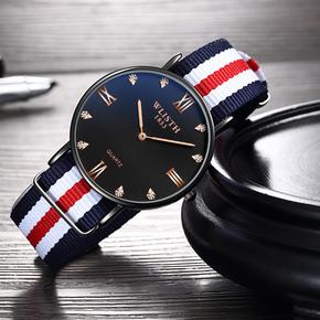 品牌D男士超薄W手表時尚防水學生機械仿水精鋼自動石英名牌腕表男