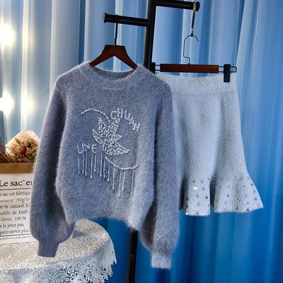 泰国潮牌18秋冬新款女装时尚套装气质钉珠毛衣鱼尾裙女神范两件套