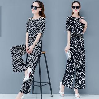 2019夏季新款时尚套装女装韩版气质雪纺花色中袖洋气短裤两件套装