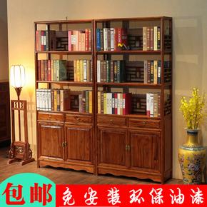 中式书架书柜落地明清仿古实木多层多功能榆木组合禅意古典茶叶架