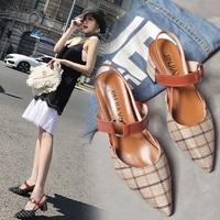 柔美名媛2018夏季韩版新款女鞋一字扣尖头粗跟凉鞋女高跟中空单鞋