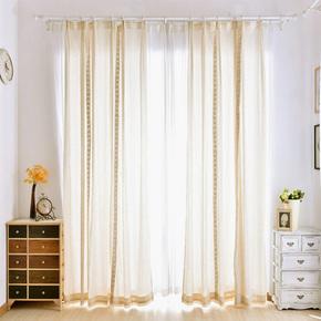 美式小清新米黄色麻棉布艺纱帘客厅落地窗定制做简约现代成品窗帘