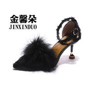 Fur shoes pointed high heels summer women's shoes 2018 new Korean version of the stiletto word buckle cat with single shoes women's sandals