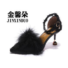 Fur shoes pointed high heels summer women s shoes 2018 new Korean version  of the stiletto word c383d70b55a1