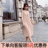 连衣裙女夏2018新款慵懒风韩版大码显瘦套头女针织背心中长款裙子