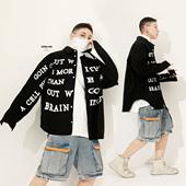 男潮牌欧美街头宽松字母印花翻领衬衣外套 19年新秋撞色长袖 衬衫图片