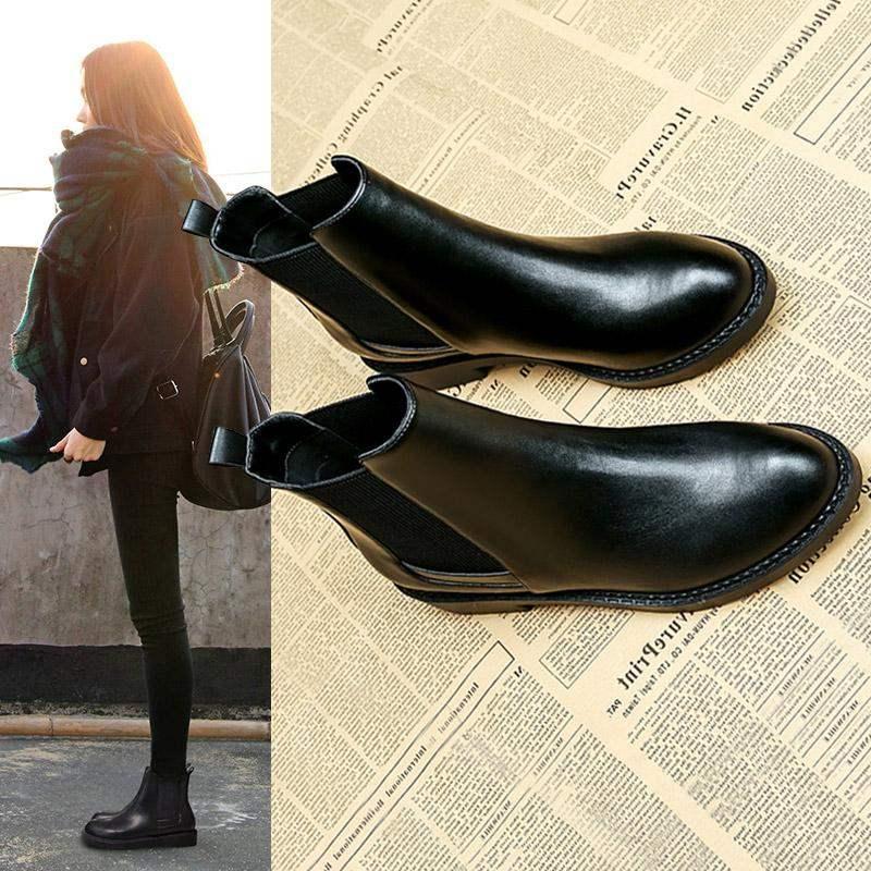 品牌想恋星期六网红皮靴春秋季新款韩版平底马丁靴英伦鞋子女切尔
