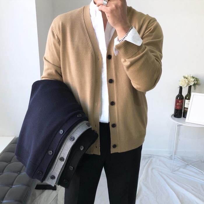 韩国东大门代购男装纯色基础款V领舒适潮搭针织开衫外套轻奢质感