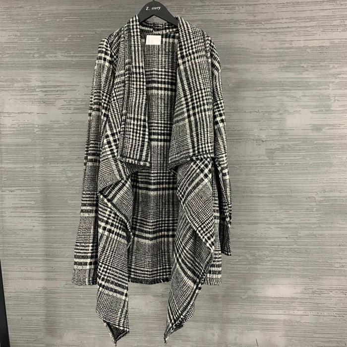 东大门韩国男装代购19春季新款个性不规则设计师外套外披千鸟格
