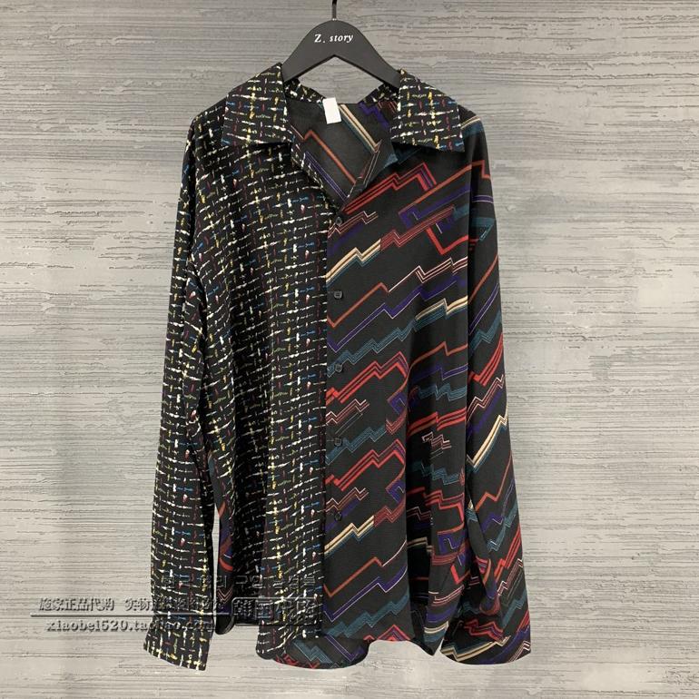 东大门韩国男装代购舞台双色拼接秀款大码方领薄款衬衫长袖衬衣19