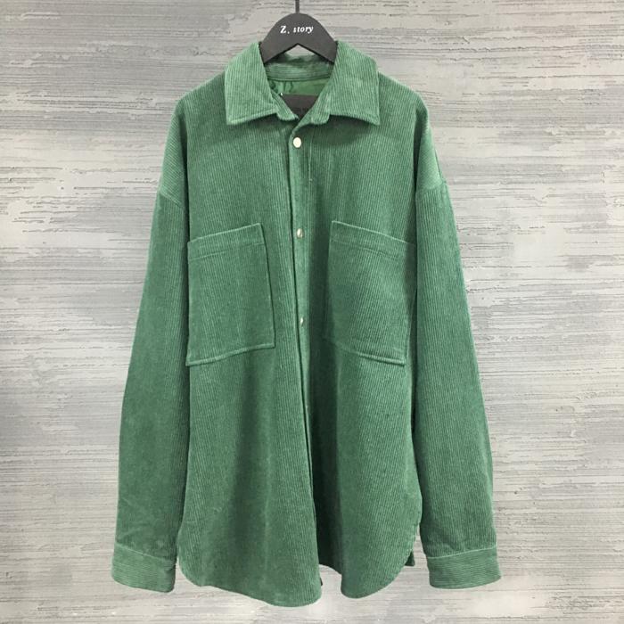 东大门韩国代购男装亲肤条绒面料衬衫宽松口袋方领长袖衬衫外套潮