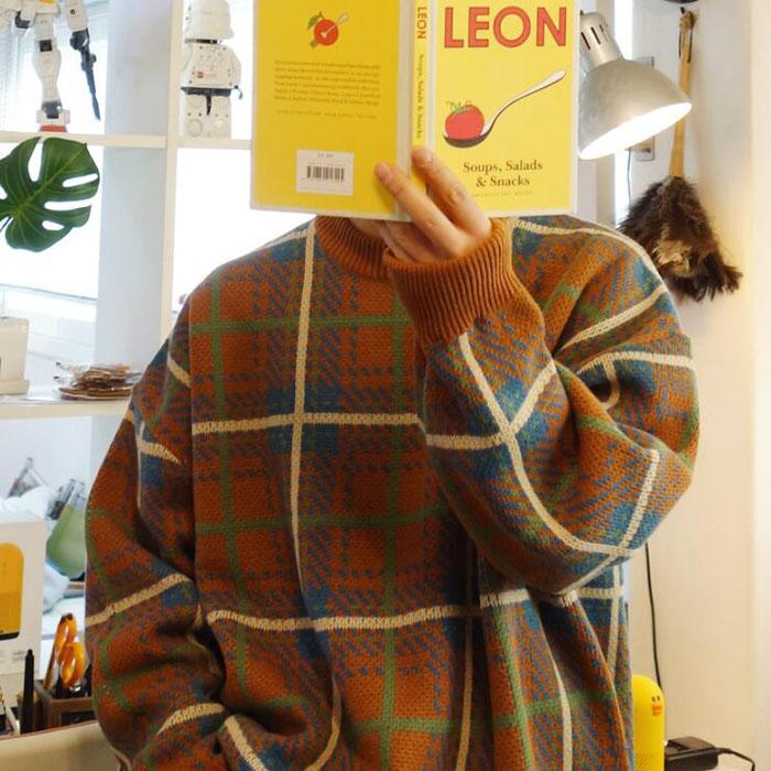 东大门韩国男装代购气质羊毛混纺格子撞色宽松大码套头毛衣针织衫