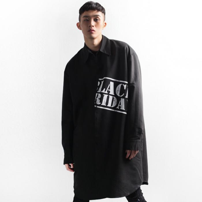 东大门韩国男装代购时尚暗黑系舞台中长英文字母印花大码衬衫外套