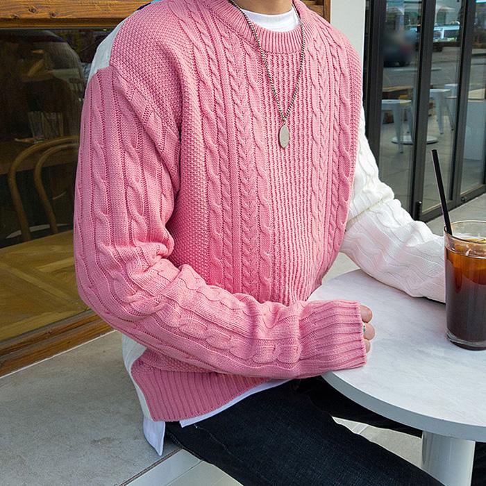东大门韩国代购男装实拍拼接撞色麻花纹针织套头毛衣舒适圆领春装