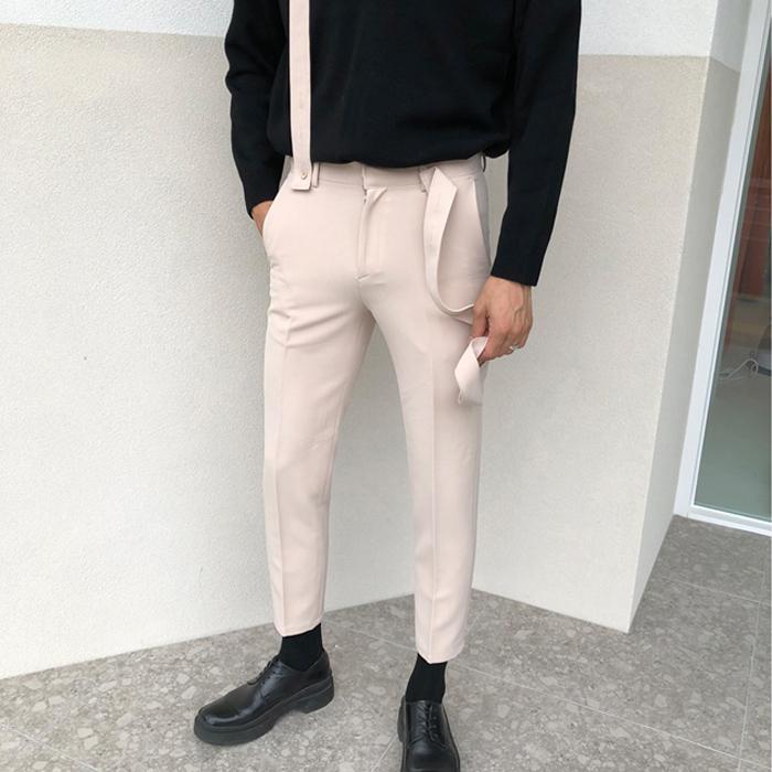东大门韩国代购男装实拍素雅骚气微锥九分小直筒可拆卸背带裤西裤