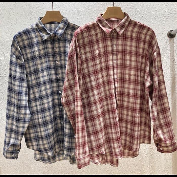 韩国代购东大门男装实拍长袖上衣学院风宽松衬衣外套格纹衬衫夏季