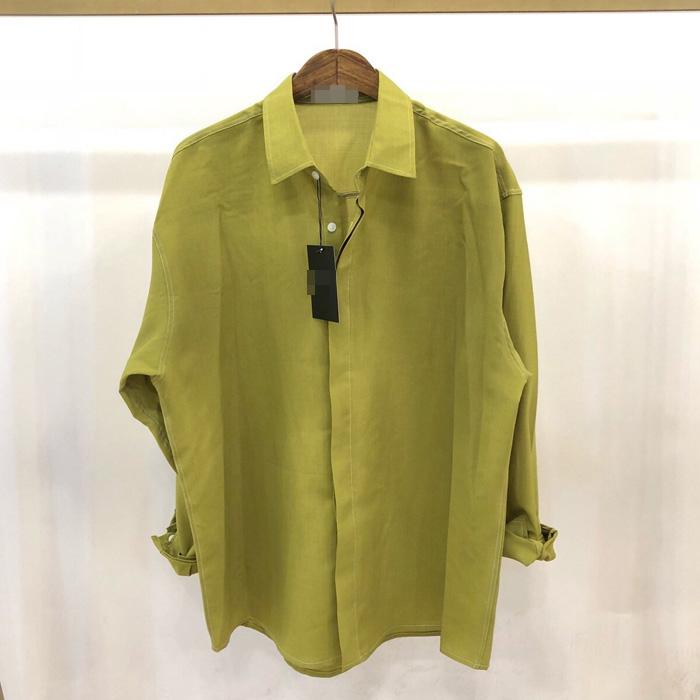 东大门韩国男装代购亲肤薄款透气宽松纯色大码翻领衬衫百搭衬衣
