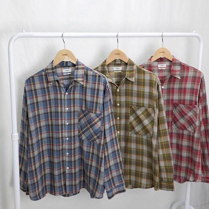 韩国男装代购东大门气质英伦纹理撞色方领宽松衬衫春季长袖衬衣