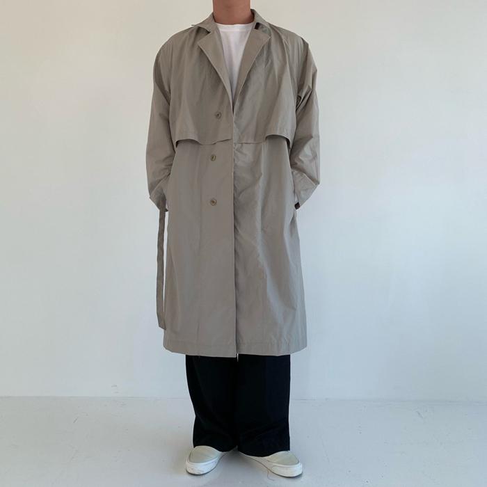 东大门韩国男装代购实拍过膝韩版宽松大衣外套中长款风衣春秋季