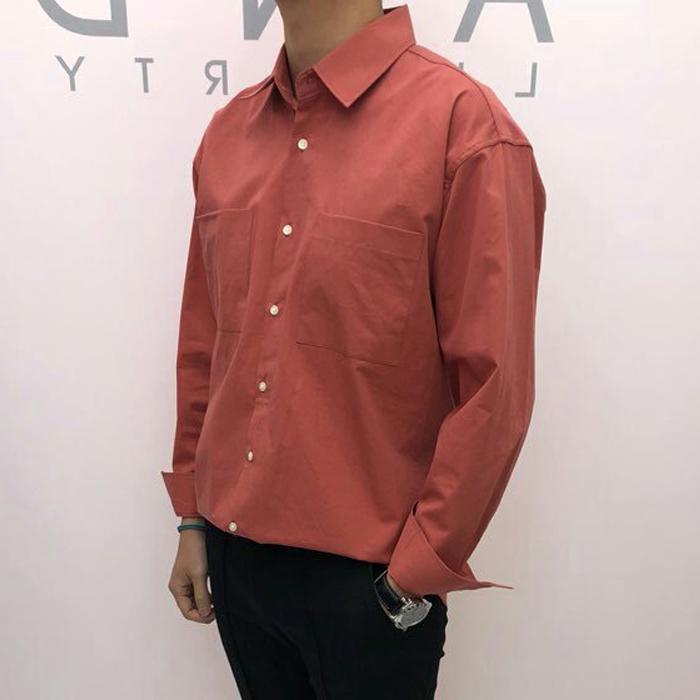 韩国代购东大门男装实拍纯色百搭宽松长袖衬衫韩版潮流外套衬衣