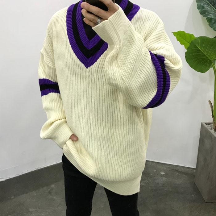 东大门韩国男装代购嘻哈条纹撞色V领宽松大码秀款针织套头毛衣