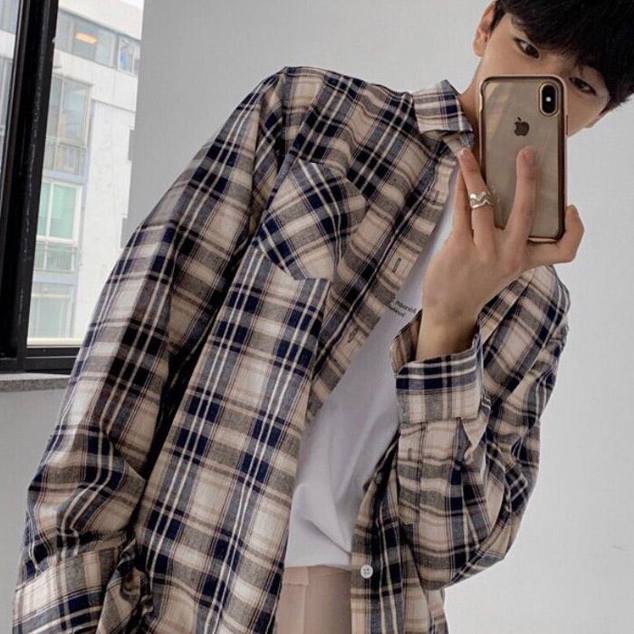 东大门韩国男装代购四系格纹撞色宽松潮搭韩版方领衬衫长袖衬衣
