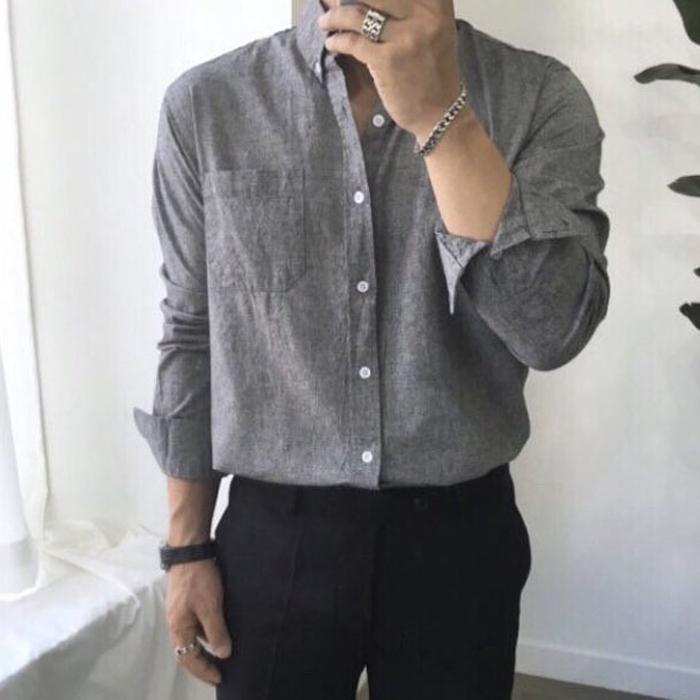 韩国代购男装实拍方领纯色长袖衬衫多色入打底休闲衬衣男休闲寸衫