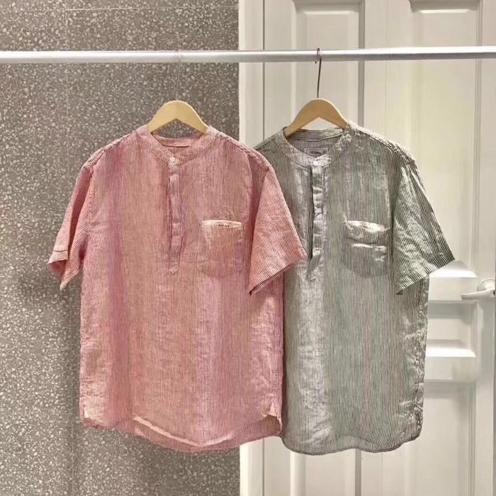 韩国代购男装实拍东大门竖条纹撞色钮扣套头立领短袖衬衫舒适衬衣