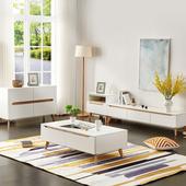 小户型简约时尚 茶桌白色经济型茶几 北欧客厅茶几电视柜组合套装
