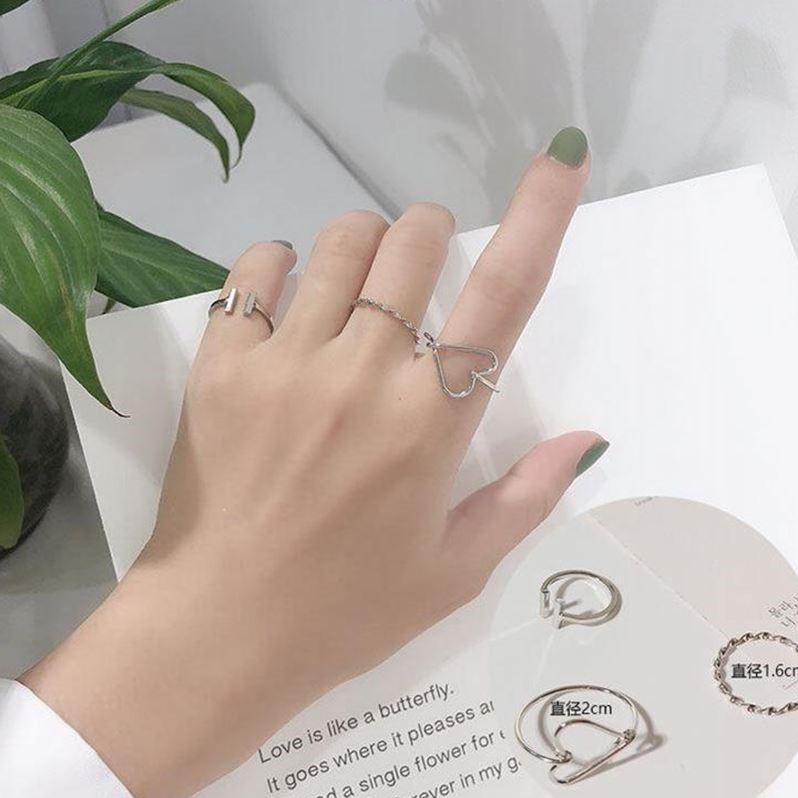【五件套】戒指女韩版学生简约个性闺蜜情侣关节尾戒食指开口指环