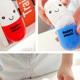 Creative Capsule Towel Storage Box Expression Pills Vitamin Towel Small Square Towel Cotton Outdoor Travel Goods