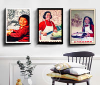 People's Commune Grand Canteen Poster Cultural Revolution Painting Modern Decorative Painting Wall Painting Sticker Sticker Painting Wallpaper Hanging Wood Frame
