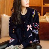 尖 李小路明星同款卡通手工钩花刺绣毛衣 羊毛针织开衫长袖外套女