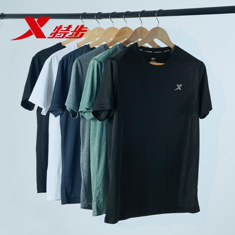 特步短袖t恤男夏季新款正品速干黑色半袖男士上衣健身运动服男装
