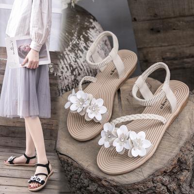 仙女风凉鞋女学生2019夏季新款女鞋韩版百搭沙滩鞋平底厚底罗马鞋