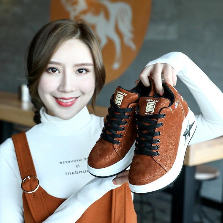 豪迈特步新款厚底内增高女鞋韩版百搭黑色运动跑步夏季透气运动鞋