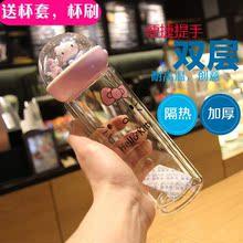 可爱微景观暖心猫咪立体玻璃杯双层隔热提手男女学生情侣杯子