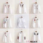 日系刺绣白衬衫