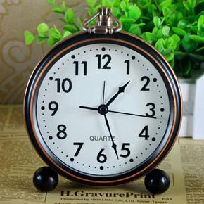 旭特闹钟台式静音床头金属5寸小座钟客厅卧室欧式复古台钟