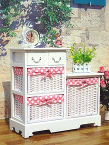 韩式宜家实木斗柜收纳柜储物柜床头柜白色可爱公主柜田园家居