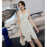 Sexy banquet evening dress female short dress halter fashion slim ladies noble temperament small dress white
