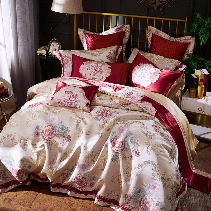 欧式床上用品高档婚庆家纺床品全棉贡缎婚房双人床四六八十件