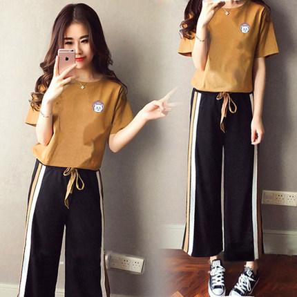 学生短袖运动套装潮女夏季新款韩版时尚九分裤宽松显瘦休闲两件套