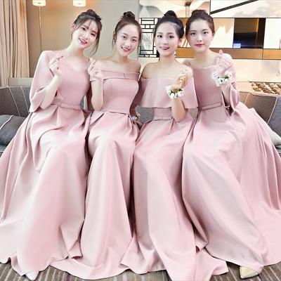 伴娘服2018春季长款粉色新款伴娘团姐妹裙宴会晚宴年会礼服女显瘦
