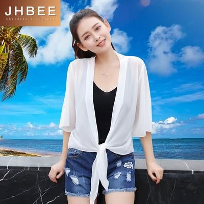 JHBEE 披肩短款薄外套女防晒衣休闲百搭出游夏季海边沙滩HB728
