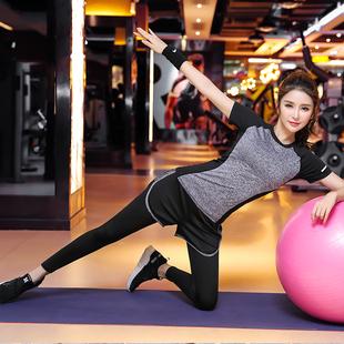瑜伽服运动套装 短裤 女夏薄款 网红健身房速干衣短袖 跑步初学者显瘦