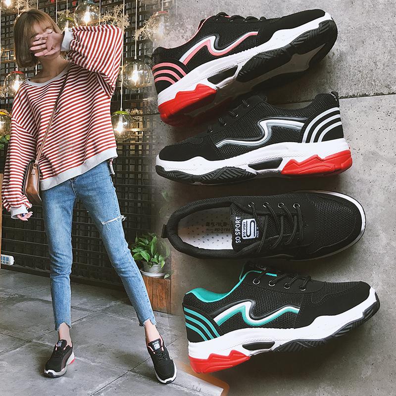鞋子_ins超火的鞋子女2018新款网面运动鞋女韩版学生原宿百搭休闲鞋子1元优惠券