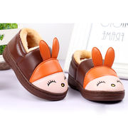 2018 new boys and girls children's hair cotton shoes baby bag with waterproof and velvet warm non-slip PU leather cotton slippers