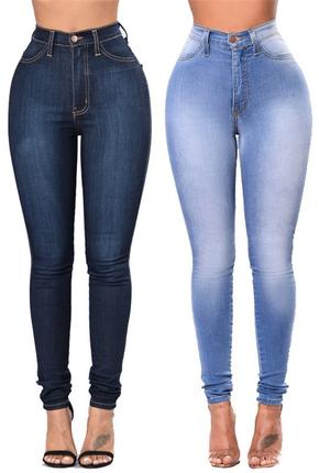 高腰弹力铅笔小脚裤2018 women high tight skinny jeans pants